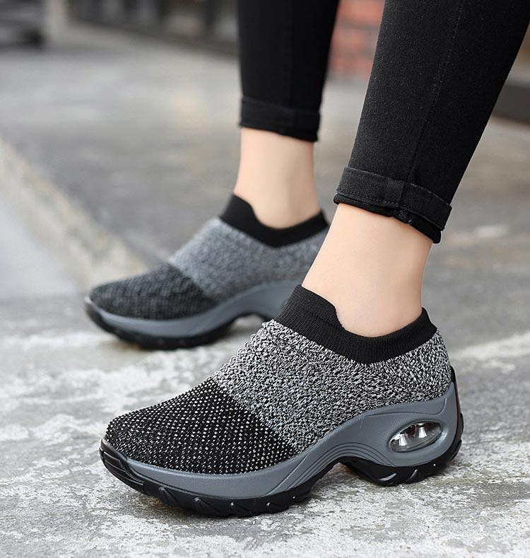 Women breathable mesh slip-on air cushion casual sneaker shoes