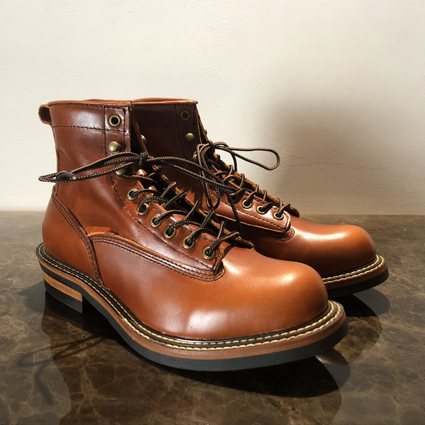 Vintage Lace-Up New Genuine Leather Platform Men Ring Black Red Ankle Boots Dress Work Casual Motorcycle Boots