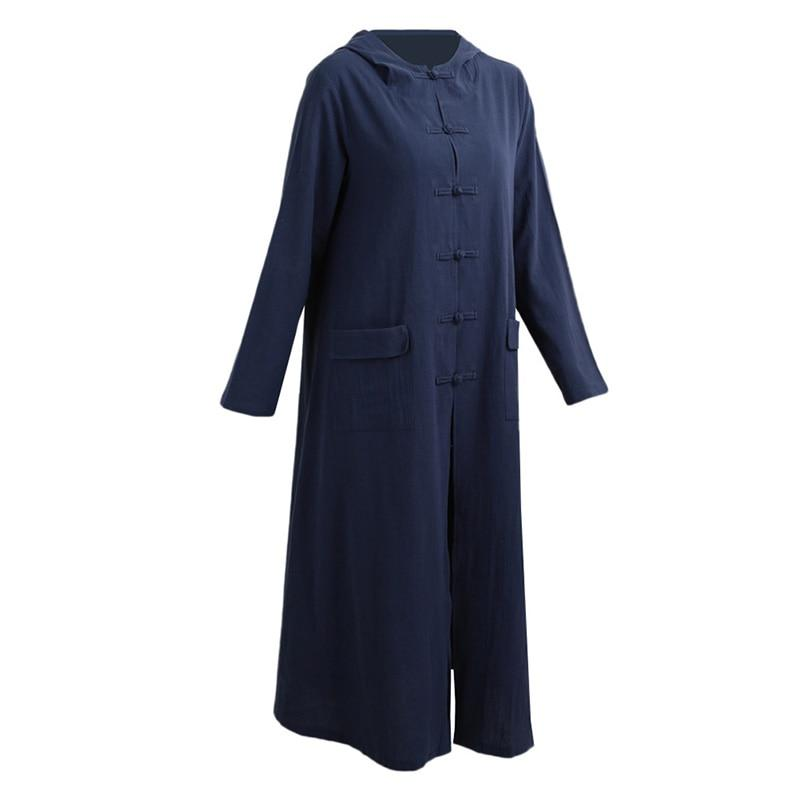 Loose Cotton Linen Dress Long Sleeve Women Vestidos Plus Size Women Clothing Long Hoodie Dress