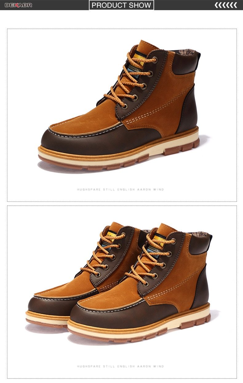 Men Fashion Pu Leather Comfortable Ankle Boots Winter Warm Boots Shoes