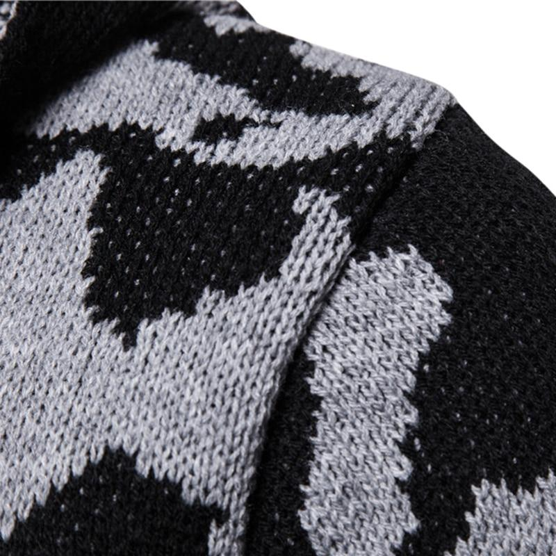 Men Casual Sweater Cardigan Men Winter Hooded Neck Quality Knitted Brand Male Sweaters large size