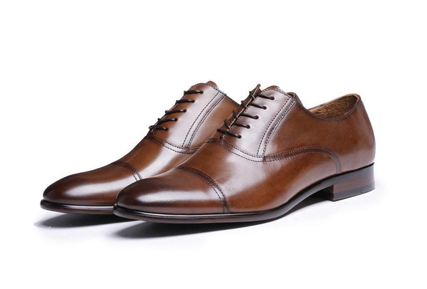 Men Dress Shoes Top Brand Full Grain Leather Retro Fashion Oxford Shoes