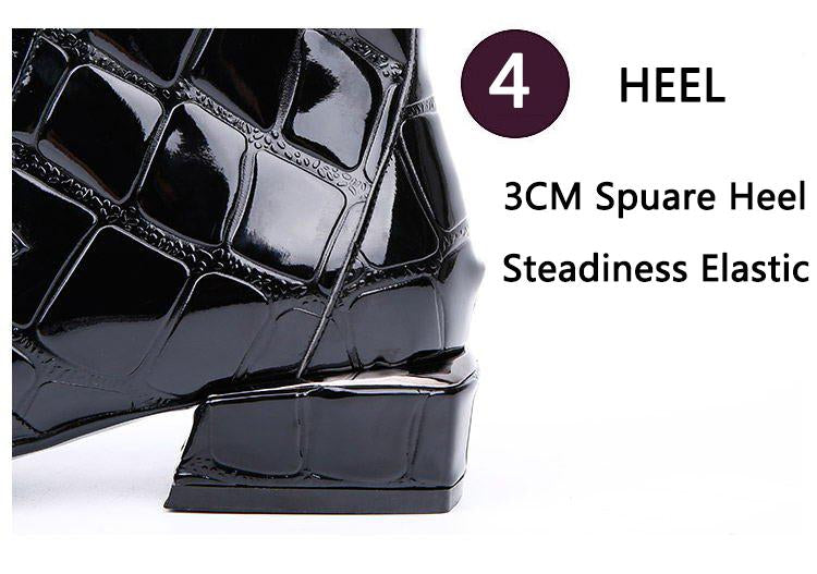 Chic Women Boots Shiny PU Leather Autumn Winter Shoes Woman Spuare Toe Block Heels Ankle Boots