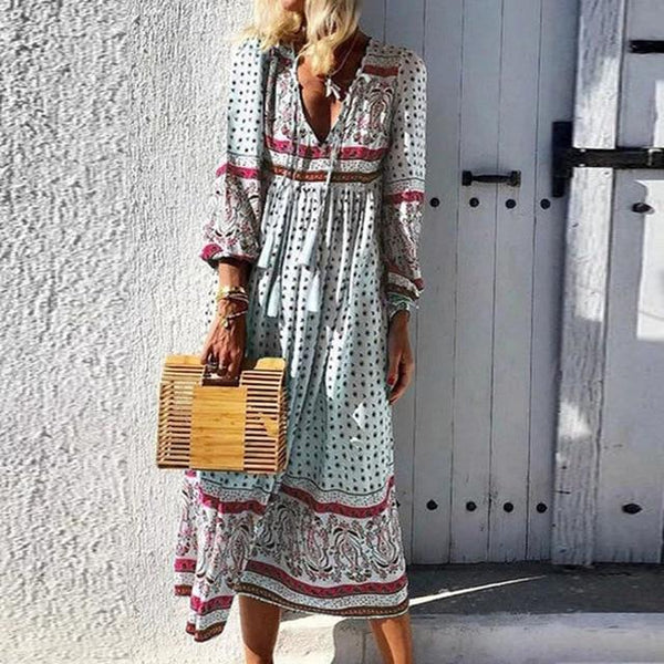 Women V-neck Lace-Up Tassel Autumn Dress Plus Size Long Sleeve Floral Print Party Maxi Dress