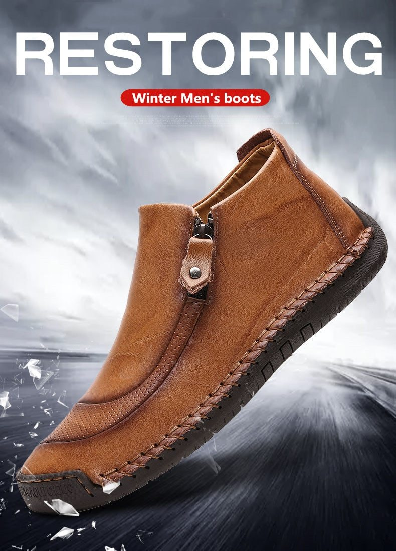 Men Boots Split Leather Ankle Snow Boots Warm Fur Men's shoes Plush Winter Autumn Driving Shoes