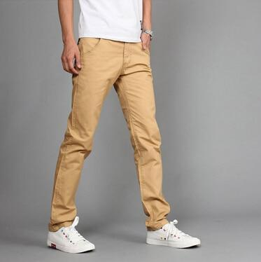New Design Casual Men pants Cotton Slim Pant Straight Trousers Fashion Business Solid Khaki Black Pants