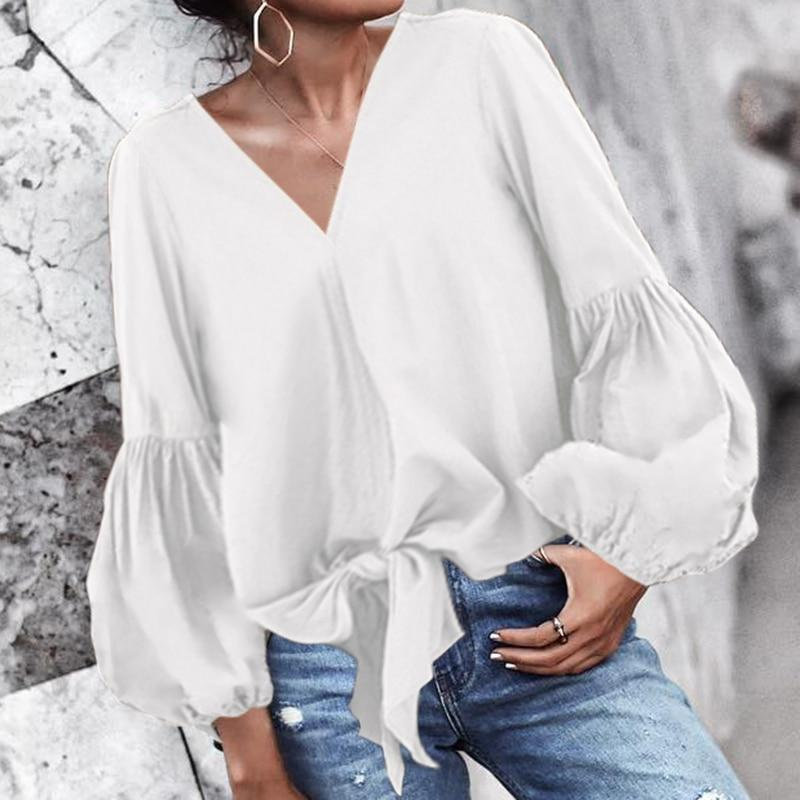 Women Stylish Tops Elegant OL Office Work Shirts Long Lantern Sleeve Sexy V-Neck Casual Bow Loose Blouse Tops