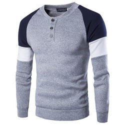 Men Long Sleeve Cotton Casual Solid Color Slim Fit Sweater Top