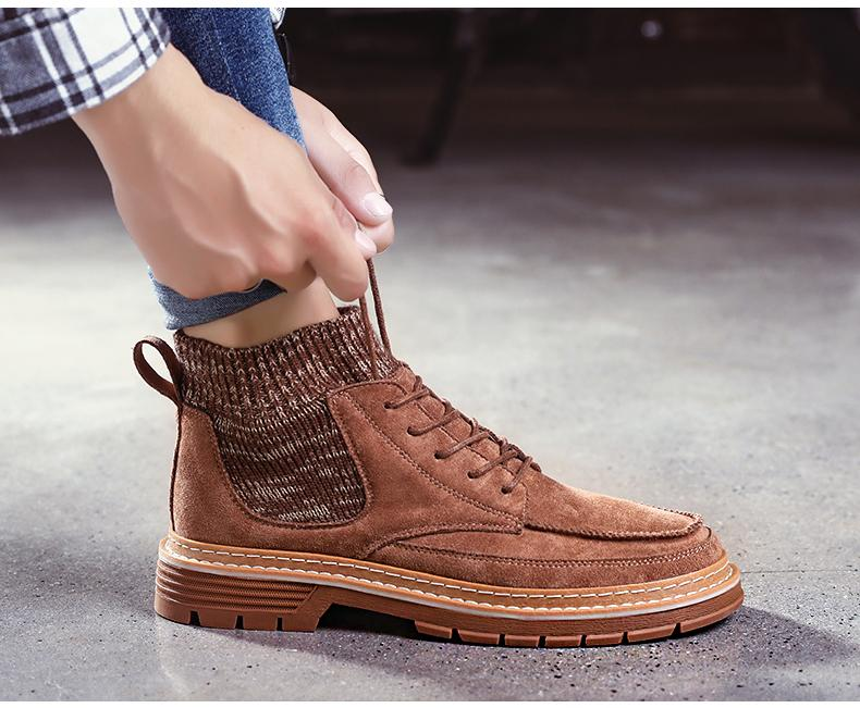 Men Boots High Quality Flannel Men Winter Boots High-top Fashion Men Winter Shoes Work Boots
