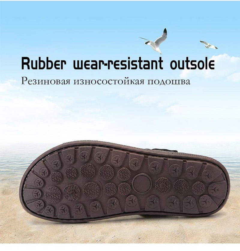 Men Summer Leather Sandals Outdoor Beach Sandals Comfortable Fashion Breathable Flip Flops Shoes