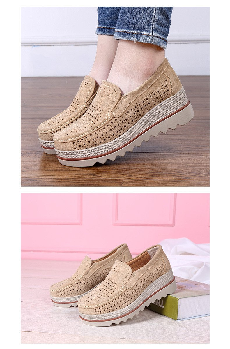Women Shoes Platform Sneakers Slip on Flats Loafers Moccasins Hollow Out Casual Shoes
