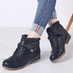 winter women's ankle boots shoes genuine leather lace up platform boots woman warm plush snow boots women