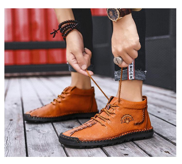 Men Thick Plush Warm Upgrade Lace-Up Waterproof Snow Ankle Boots Casual Boots Shoes