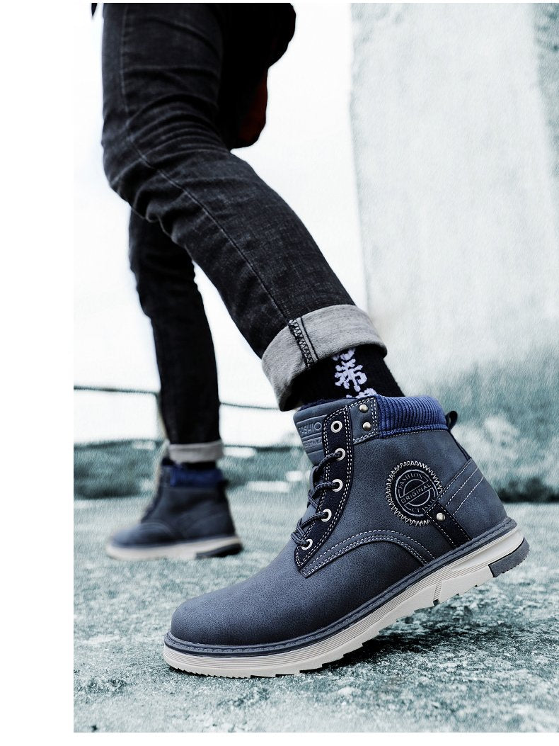 Men Boots Winter Waterproof Ankle Boots Desert Boots Outdoor Plush Working Snow Boots Men's Shoes