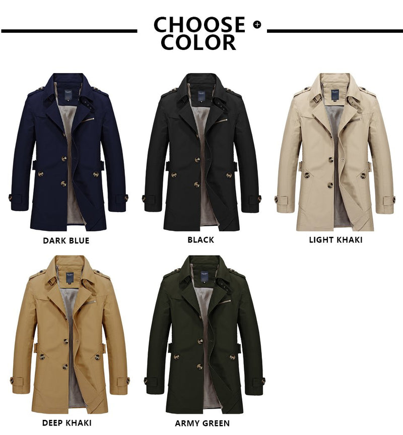 Long Leather Trench Coat Men New Men's Spring Casual Jacket Windbreaker Outerwear High Quality Fashion Long Coat