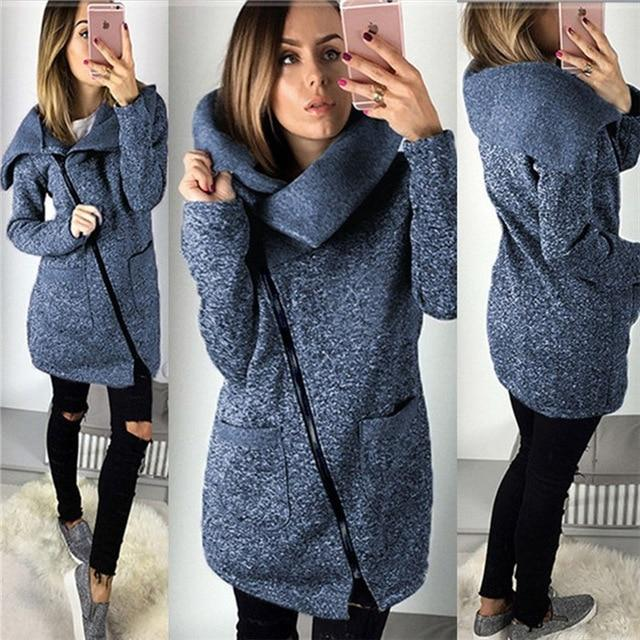 Women Warm Fleece Fashion Slant Zipper Overcoat Jumper Tracksuit Tops Coat Sweatshirts Jackets