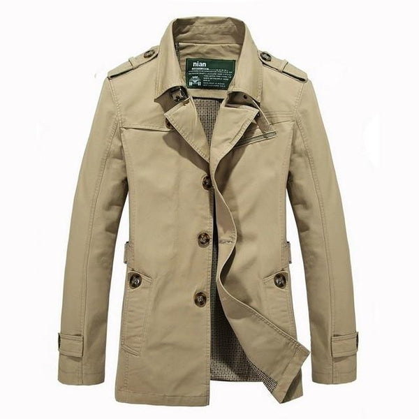 5XL Men Long Business Casual Cotton Jacket Trench Coat Men New Fashion Soft Safari Style OutWear Jackets Coats