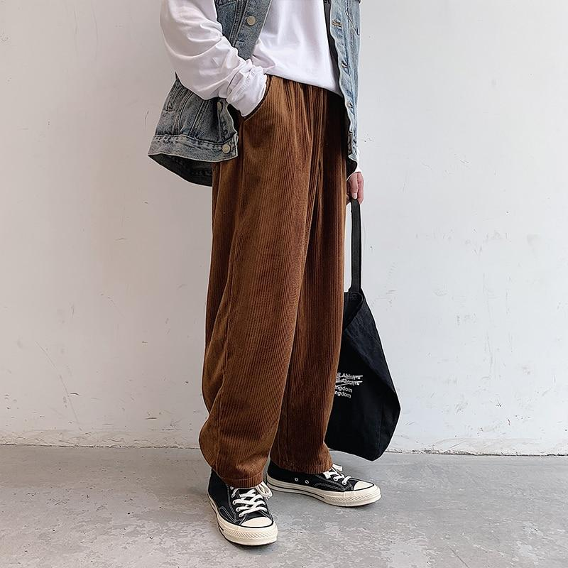 Men Vintage Fashion Corduroy Loose Casual Straight Wide Leg Pant Streetwear Hip Hop Trousers
