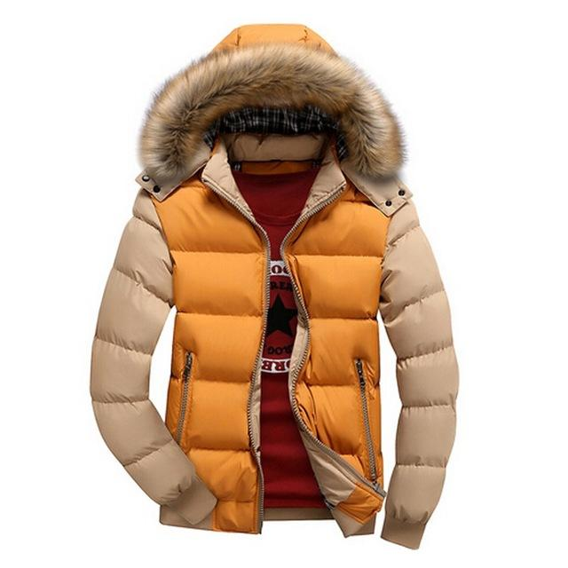 Men's Winter Jackets Thick Hooded Fur Collar Parka Men Coats Casual Padded Mens Jackets