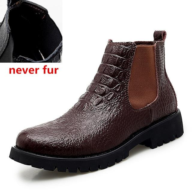 Cow Genuine Leather Men Boots Lace-Up Keep Warm Plush Snow Boots Motorcycle Boots Fashion