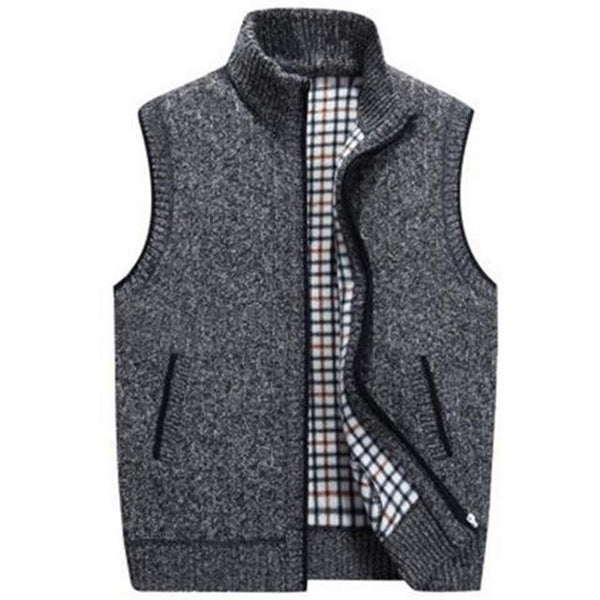 Mens Wool Sweater Vest Zipper Sleeveless Knitted Vest Jacket Warm Fleece Plus Size Sweatercoat