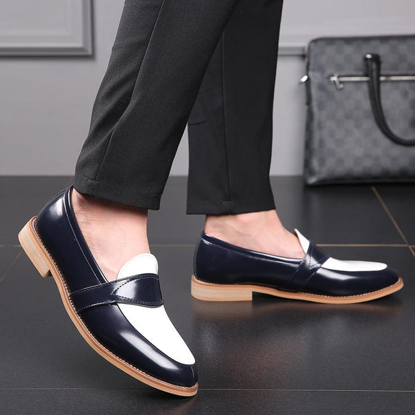 Men Dress Shoes Luxury Leather Slip-on Flat Loafers Formal Shoes