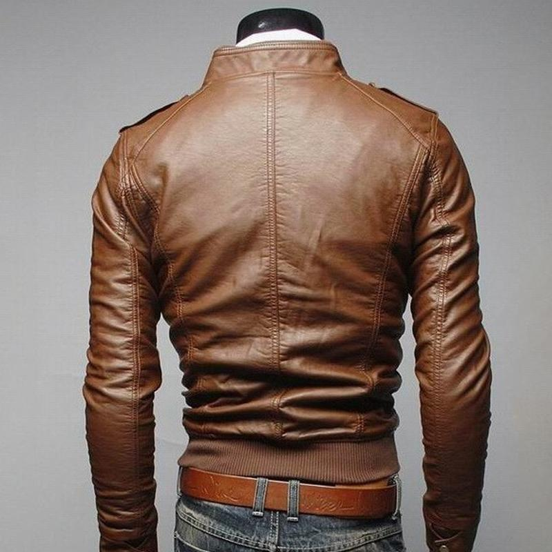 Fashion Men Vintage Motorcycle PU Leather Coats Stand Collar Long Sleeve Outwear Zipper Fitness Cool Jacket
