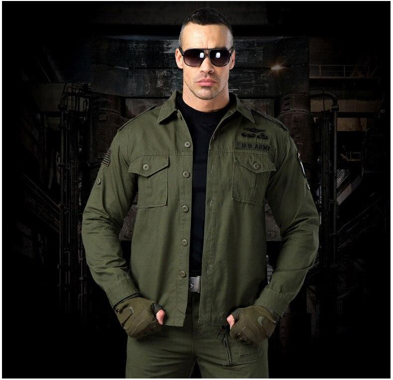Men Military Tactical Shirts Camouflage Long Sleeve Shirt Army Force Pockets Cotton Outwear Coats