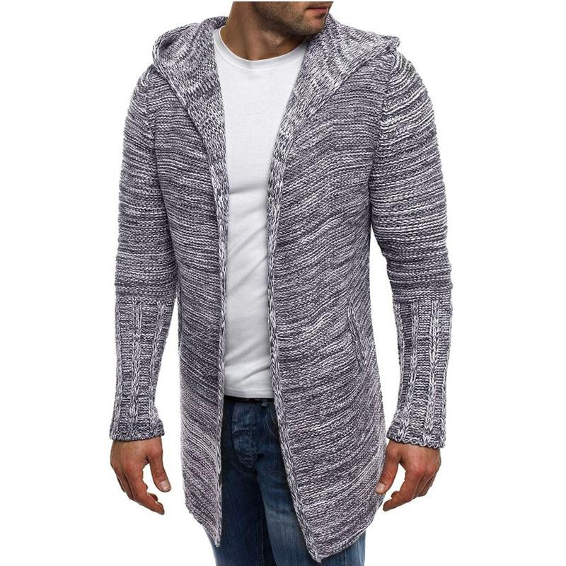 Fashion sweater men casual cardigan men winter hooded neck solid male sweaters large size