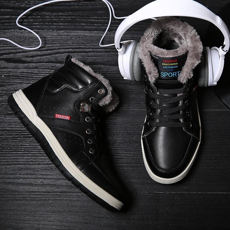 Men Winter Waterproof Ski Plush Snow Boots With Fur