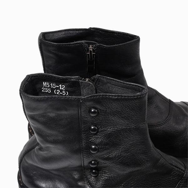 Handmade Office Work Men Genuine Leather Ankle Boots Gothic Rivet Punk Footwear Motorcycle High Top Boots