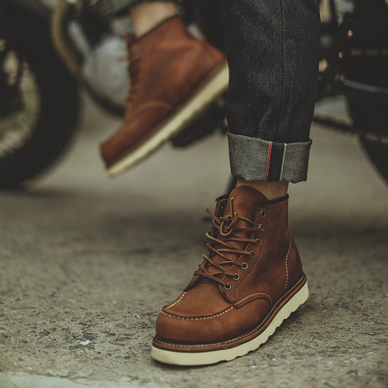 Red Tool Vintage Boots Genuine Leather Winter Men's Motorcycle Travel Outdoor Boots