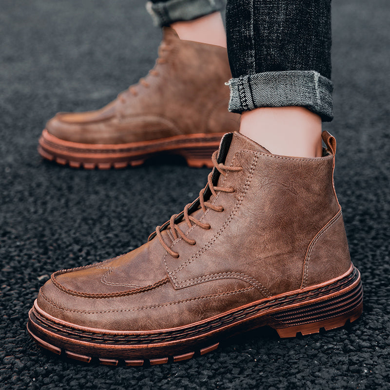 Ankle Men Boots Leather Retro Martin Boots Men Waterproof Tooling Boots Leisure