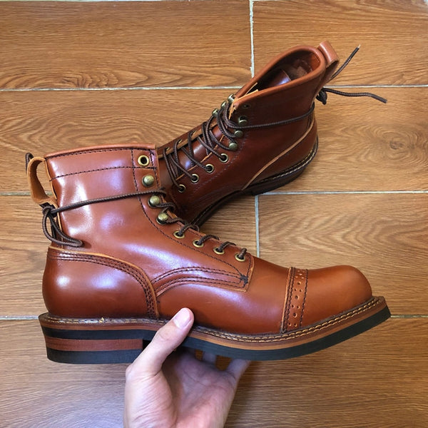 Genuine Genuine Leather Lace-Up Vintage High Quality Tooling White Ankle Boots Motorcycle Boots