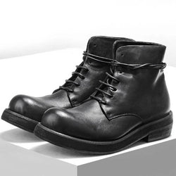 Men Casual Shoes High-Top Ankle Riding Boots Vintage Genuine Leather Sneakers Black Lace Up Work Boots