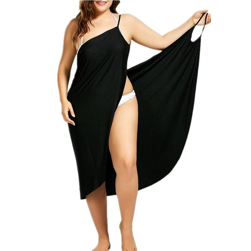 Women Beach Dress Sexy Sling Becah Wear Dress Sarong Bilini Cover Up Warp Pareo Dresses Towel Backless  Swimwear Femme Plus Size