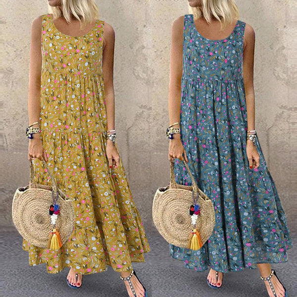 Summer Bohemian Beach Dress Plus Size M-5XL Women Fashion Casual Loose Sleeveless Floral Daily Print Long Cotton and Linen Dress