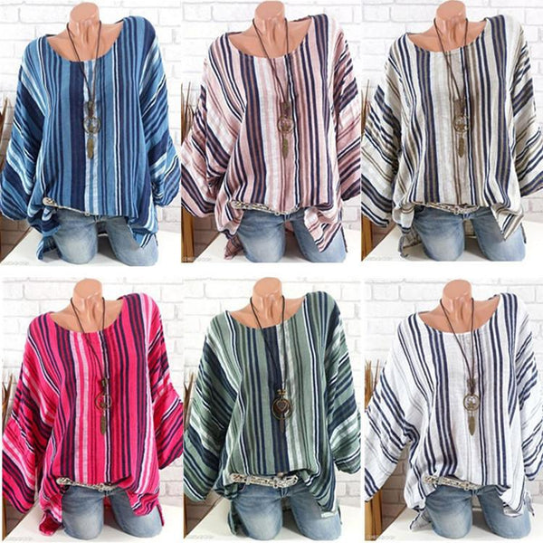 4XL 5XL Vestidos Summer Blouse batwing sleeve round neck Women Blouse Plus Size big size  Striped casual female Top clothing