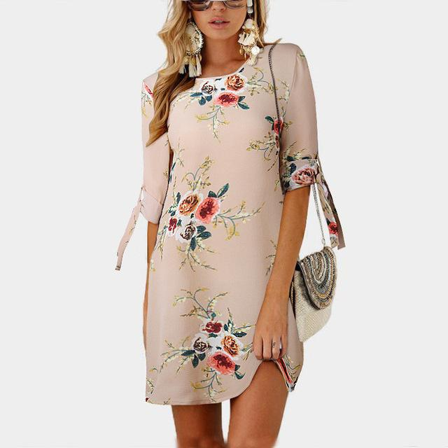 Women Summer Dress Boho Style Floral Print Chiffon Beach Dress Tunic Sundress Loose Mini Party Dress 5XL