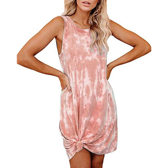 New Arrival Summer Tie-dye Dress Women O-neck Sleeveless Dress Loose Elegant Casual Tank Dress