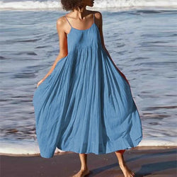 Sunshine Beach O Neck Beach Long Dress Summer Sexy Sleeveless Backless Party Dress Casual Plus Size Loose Women Boho Dress