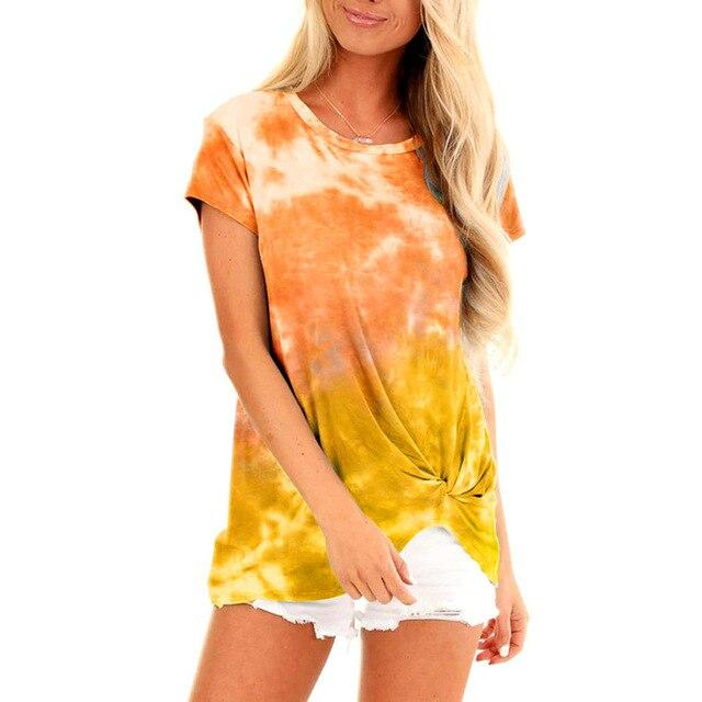 New T-shirt Women Plus Size Tie-Die Print Summer Loose Short Sleeve O-neck Pullover Tops Shirt femme T shirt For Women Clothing