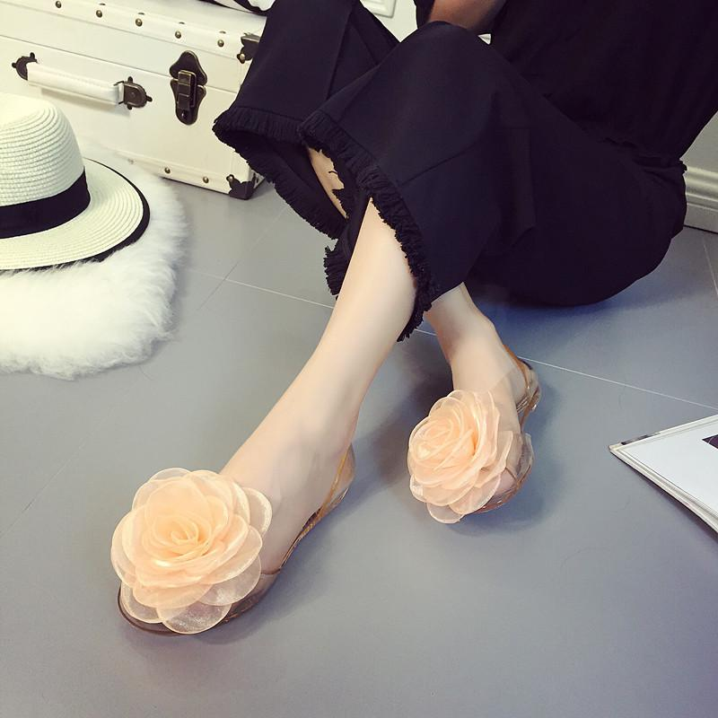 Women Sweet Flowers Jelly Sandals Flat Summer Casual Flats Shoes
