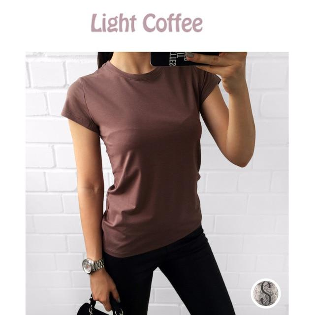 Corachic.com - 18 Colors S-3XL Plain T-Shirt Women Cotton Elastic Basic Casual Tops Short Sleeve T-shirt - Blouse & Tops