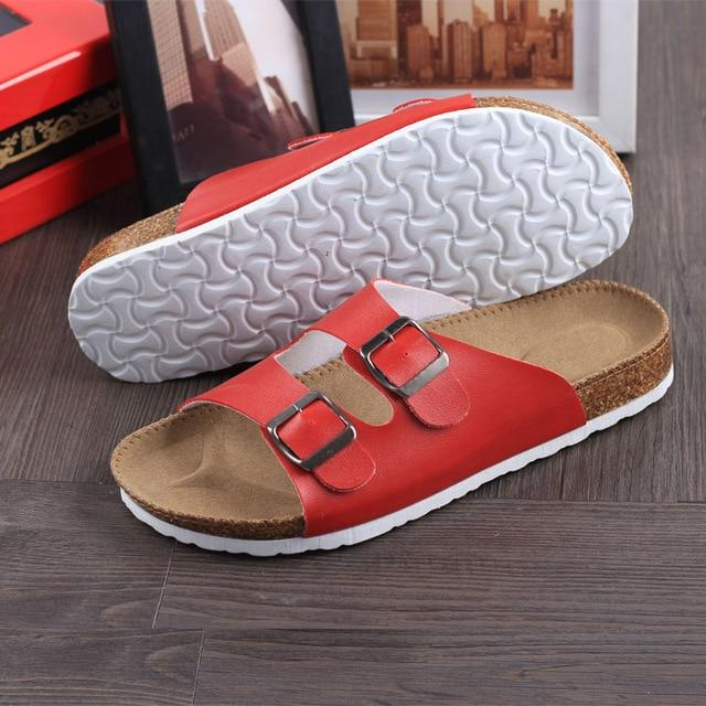 Men's PU Leather Slippers Sandals Flip Flops Summer Beach Sandals