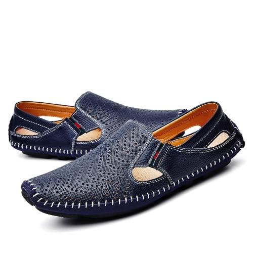 Men Leather Plus Size Sandals Casual Slip-on Summer Beach Shoes