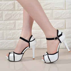 Hollow Buckle Women's Fight Color Fish Mouth Fine with High Heels Sandals