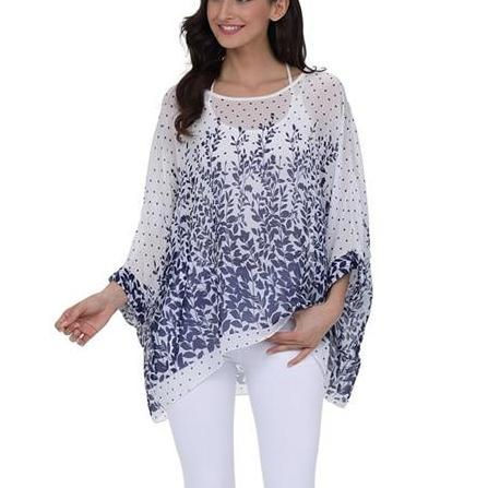 Corachic.com - 6XL Plus Size Women Chiffon Blouse Shirt Batwing Sleeve Tops Blouses - Blouse & Tops