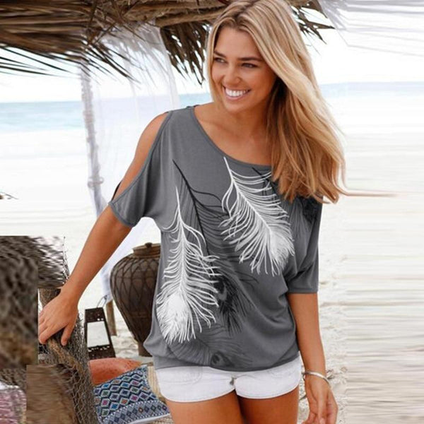 Women Casual T-Shirt Short Batwing Sleeve Loose Tops Cold Shoulder Feather Print Tops