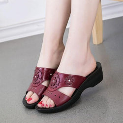 Summer PU Leather Woman Slippers Slope Thick Soft Bottom Slip Sandal Shoes